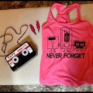 Tops - Fun 90's Costume Hot Pink Tank & VHS Purse